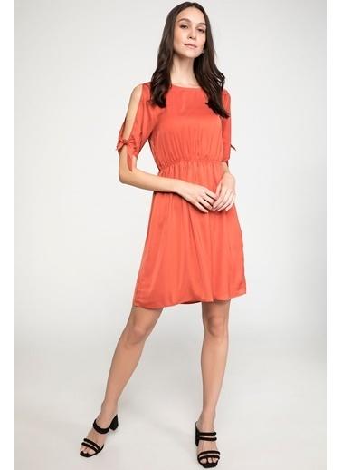 DeFacto Beli Büzgülü Saten Elbise Oranj